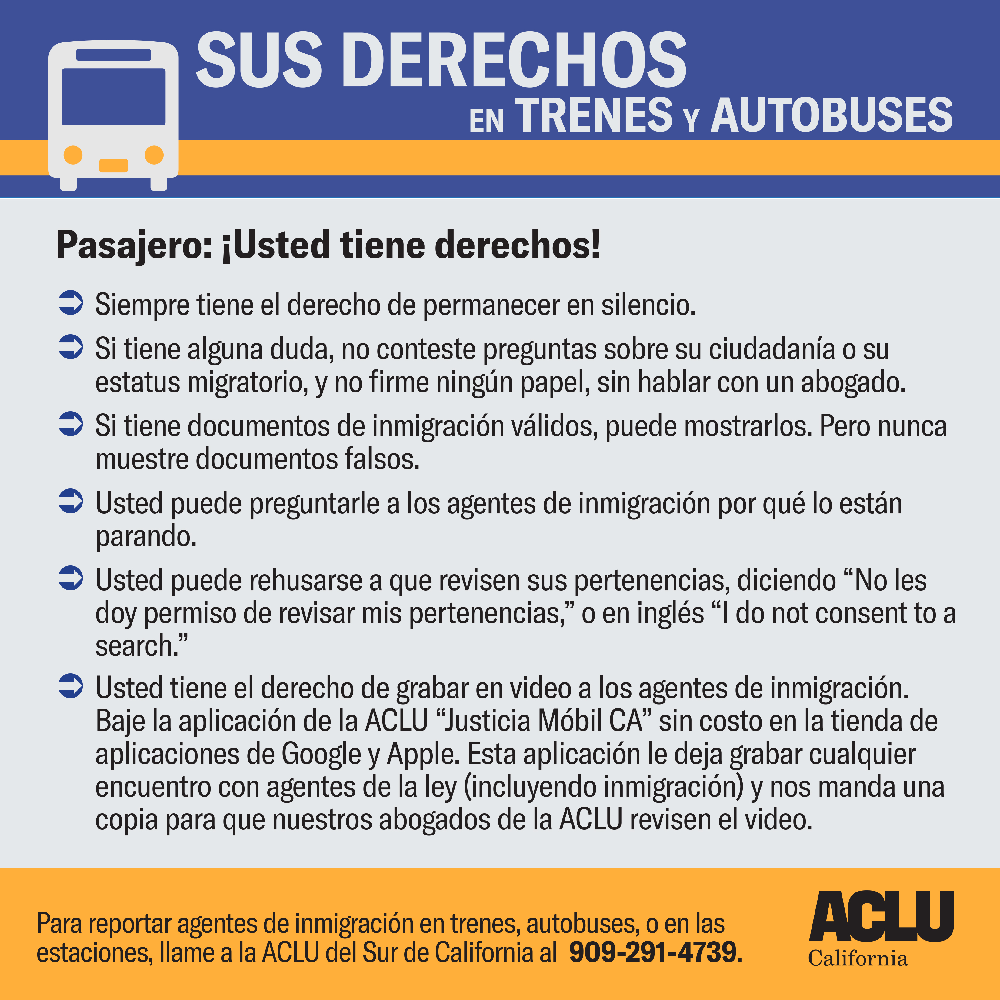 Know Your Rights on buses and trains - Spanish
