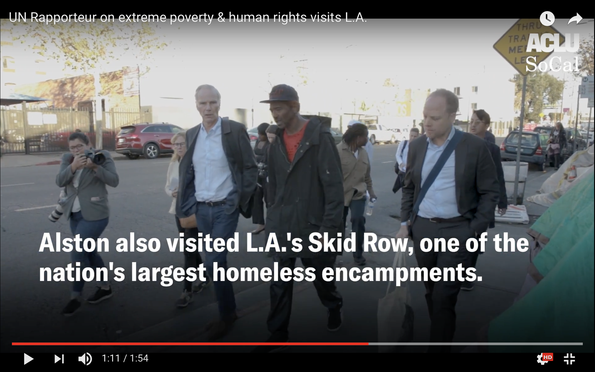 UN Special Rapporteur on Extreme Poverty Philip Alston turing Skid Row in L.A.
