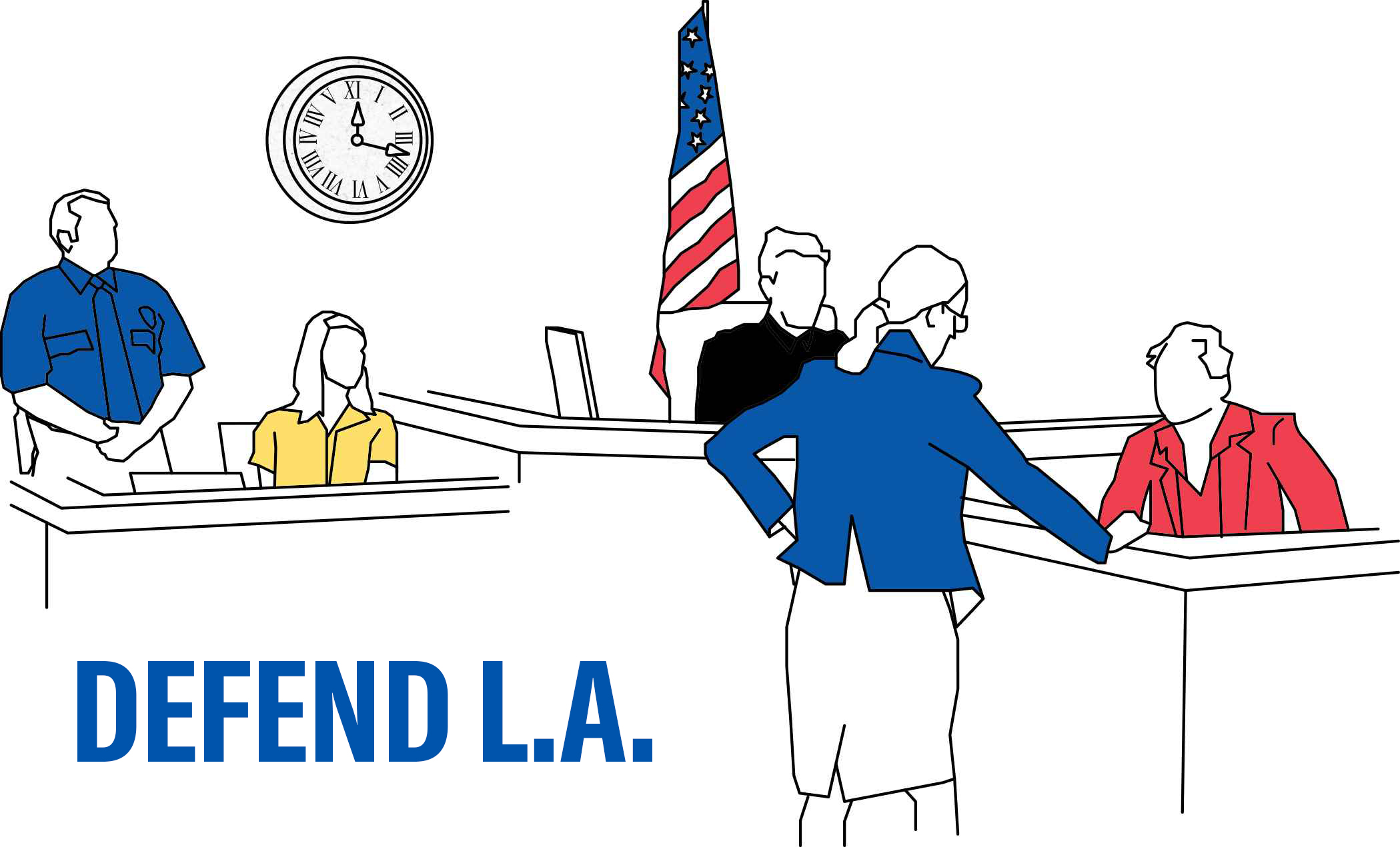 Defend LA - sketch of people in a courtroom, including a judge, a defendant, an attorney, a bailiff, and a court reporter