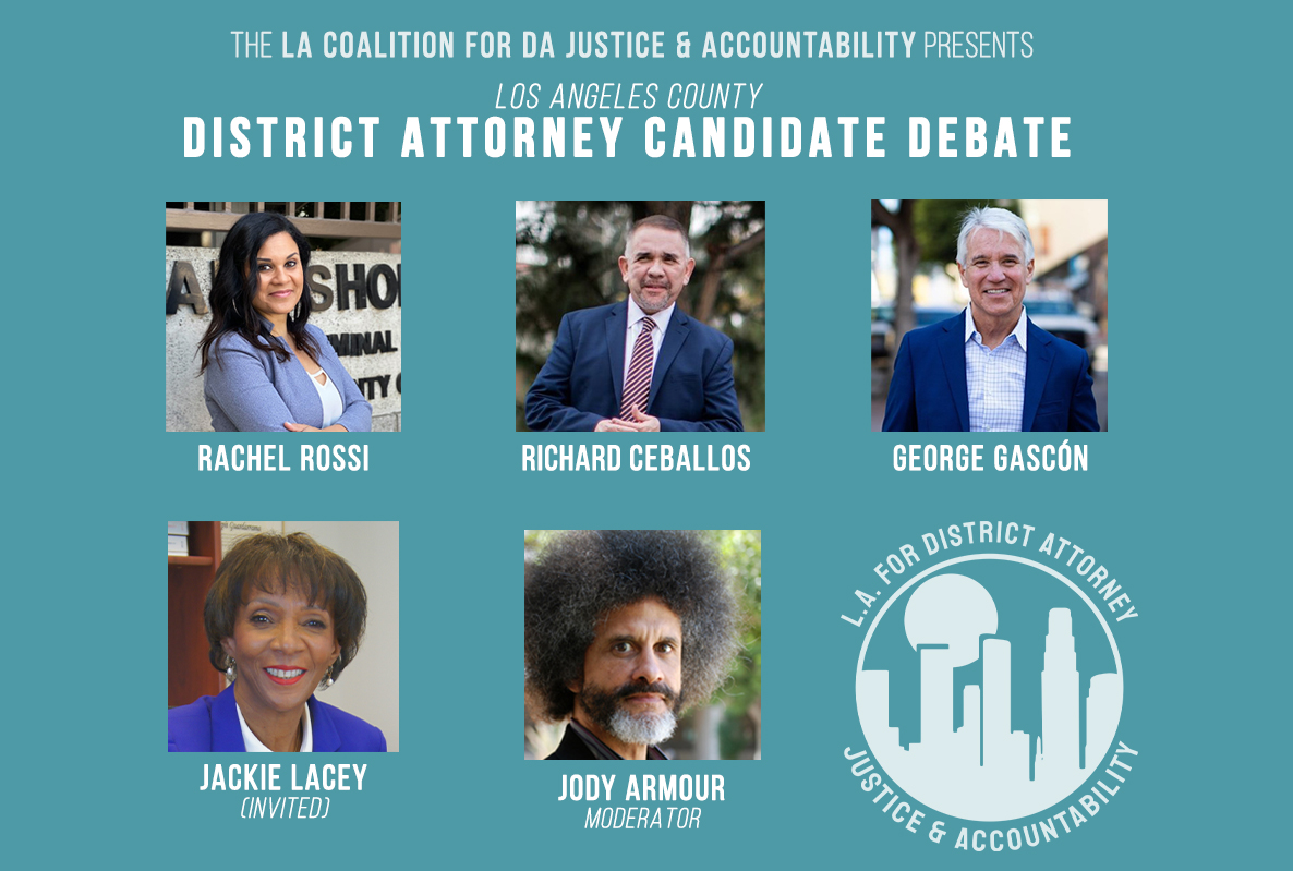 Portrait photos of Rachel Rossi, Richard Ceballos, George Gascon, Jackie Lacey candidates in the 2020 Los Angeles County District Attorney race. Moderator Jody Armour.