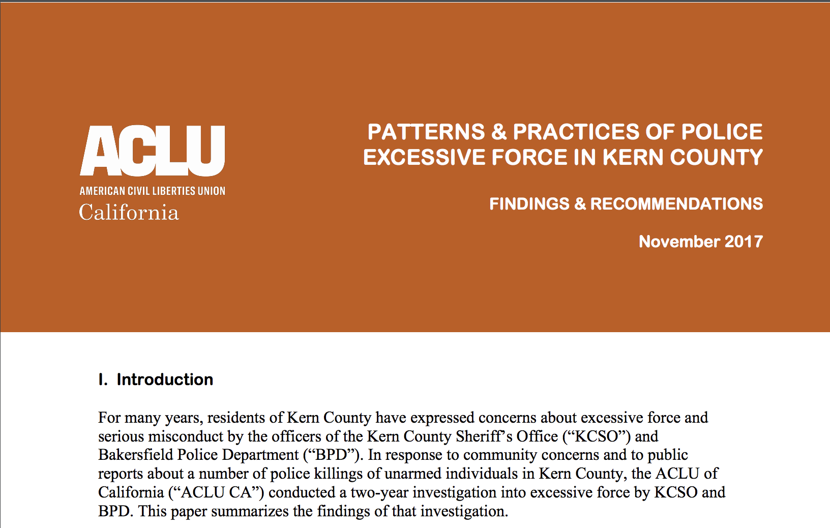 Excessive Of Southern Aclu Police County In Force And Practices California Patterns Kern