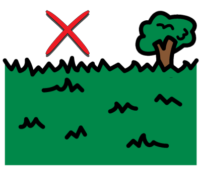 An illustration of a park with grass in the foreground and a tree in the background. A red X is drawn on top of the image.