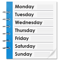 Page of a planner with the days of the week written on it