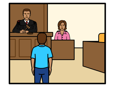 A court case. A man appearing in front of a male judge. A woman sits next to the judge in the witness stand.