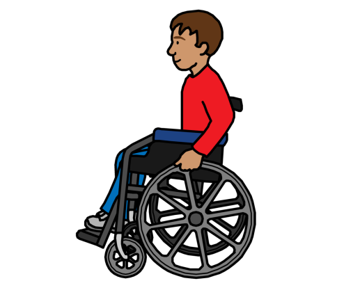 A man with a wheelchair entering a building
