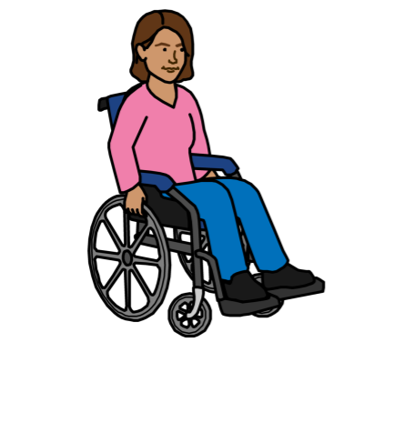 A woman with a wheelchair speaking up