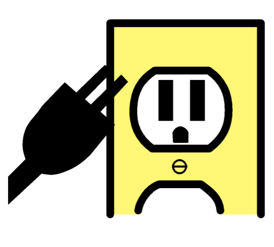 An electrical outlet with an electrical plug in front