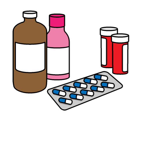 Four bottles of medication and a packet of pills