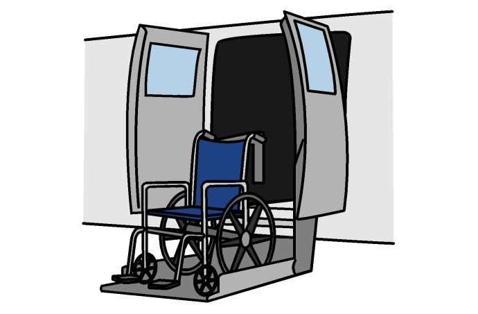 A van with a wheelchair lift