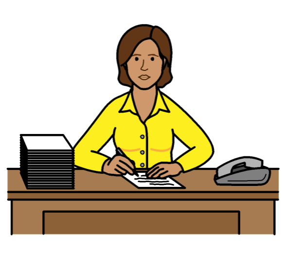 A woman working at a desk