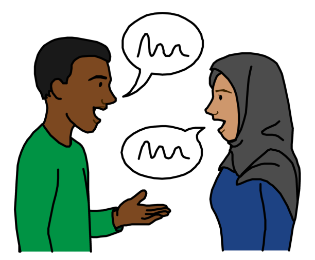A man and woman talking