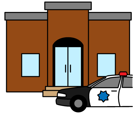 A police station with a police car in front of the building