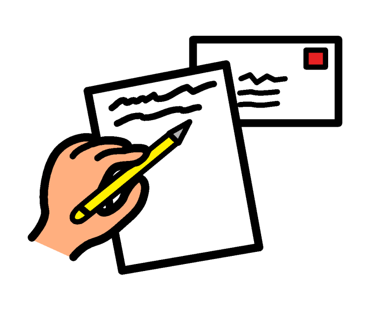 A hand holding a pencil writing on a sheet of paper. A letter envelope with a stamp is behind the paper.