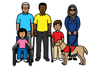 Illustration of a group of people with disabilities: A young girl in a wheelchair, an older man with white hair, a man using forearm crutches, a young boy, and a woman wearing hijab and dark sunglasses with a guide dog.
