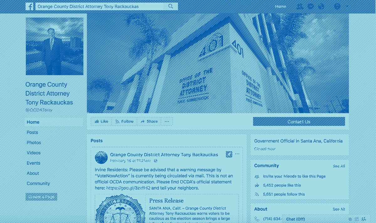 Orange County District Attorney Tony Rackaukas's Facebook page
