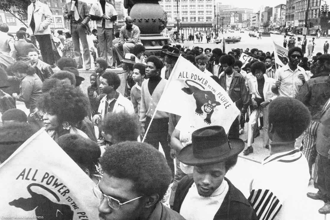 A Black Panther protest march and rally.