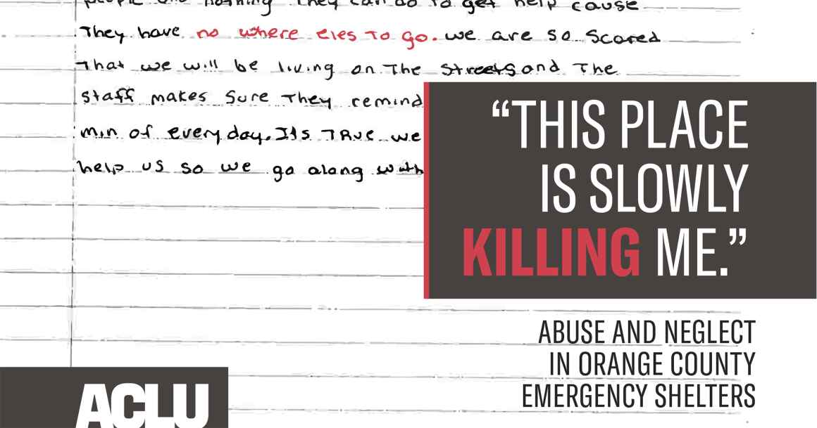 "A handwritten page of somebody's journal, with title text that reads: ""This Place is Slowly Killing Me: Abuse and Neglect in Orange County Emergency Shelters"""