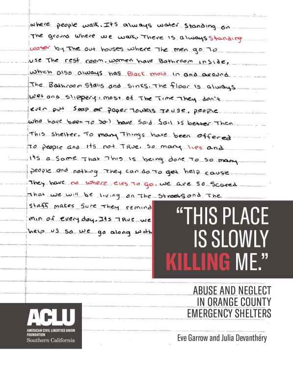 """A handwritten page of somebody's journal, with title text that reads: """"This Place is Slowly Killing Me: Abuse and Neglect in Orange County Emergency Shelters"""""""