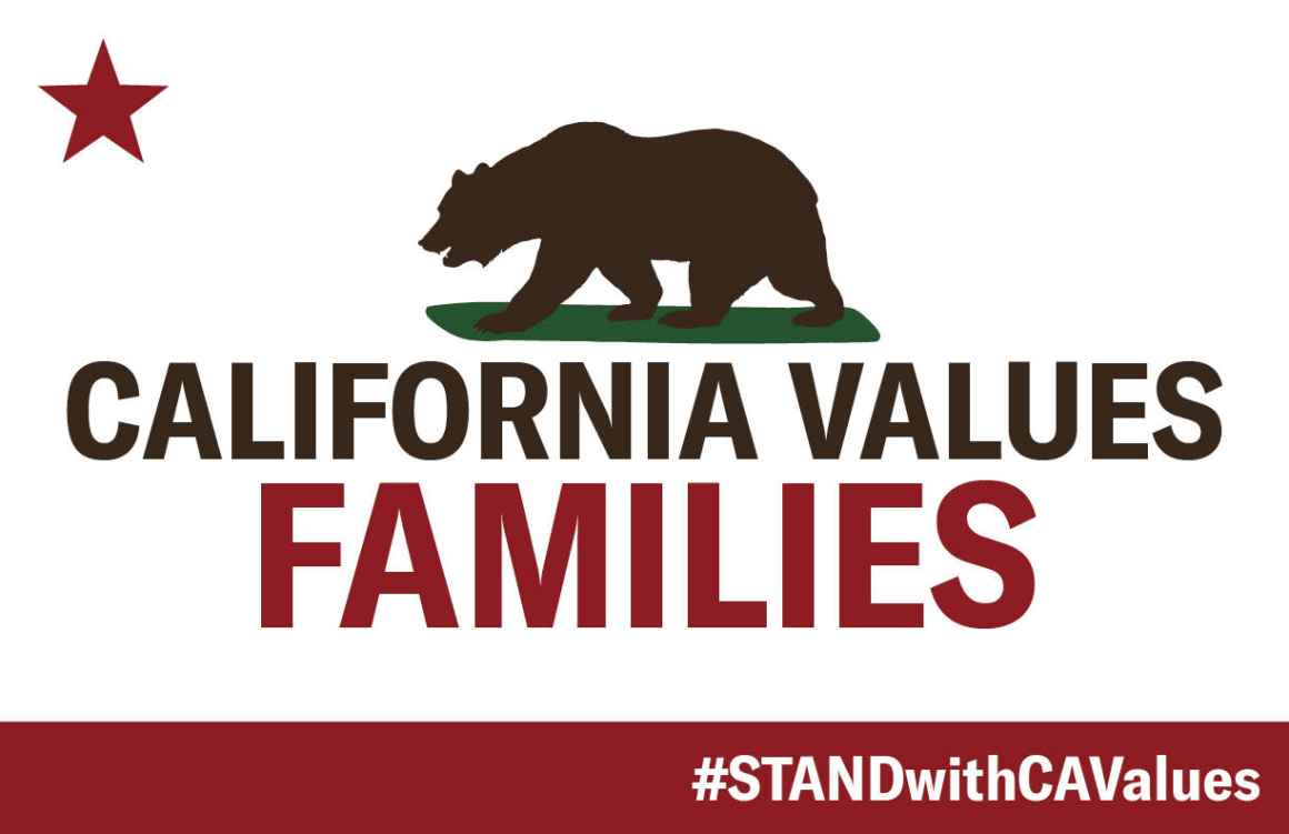 California flag with red star in upper left, brown bear in the middle, with text that reads: California values families, #STANDwithCAValues