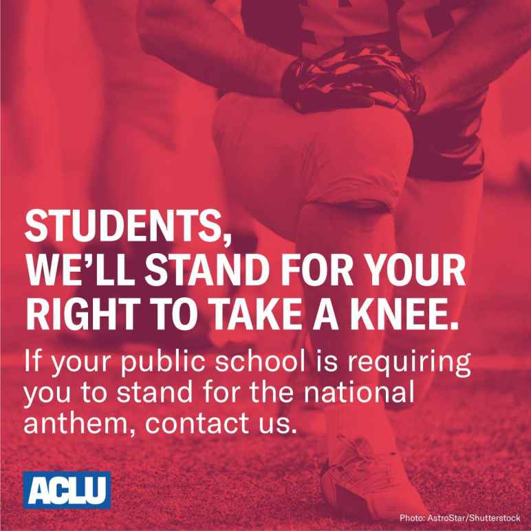 Students, we'll stand for your right to ake a knee