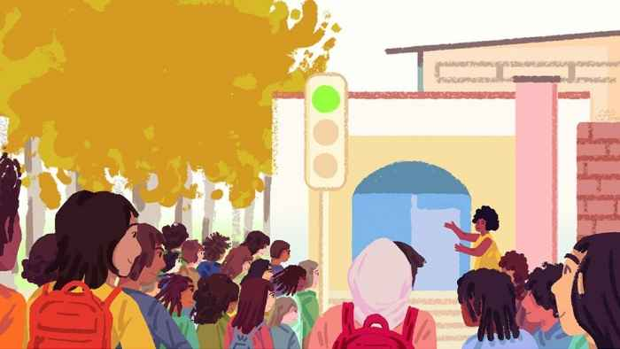 Illustration of people on a school campus all facing a speaker in an outdoor area.