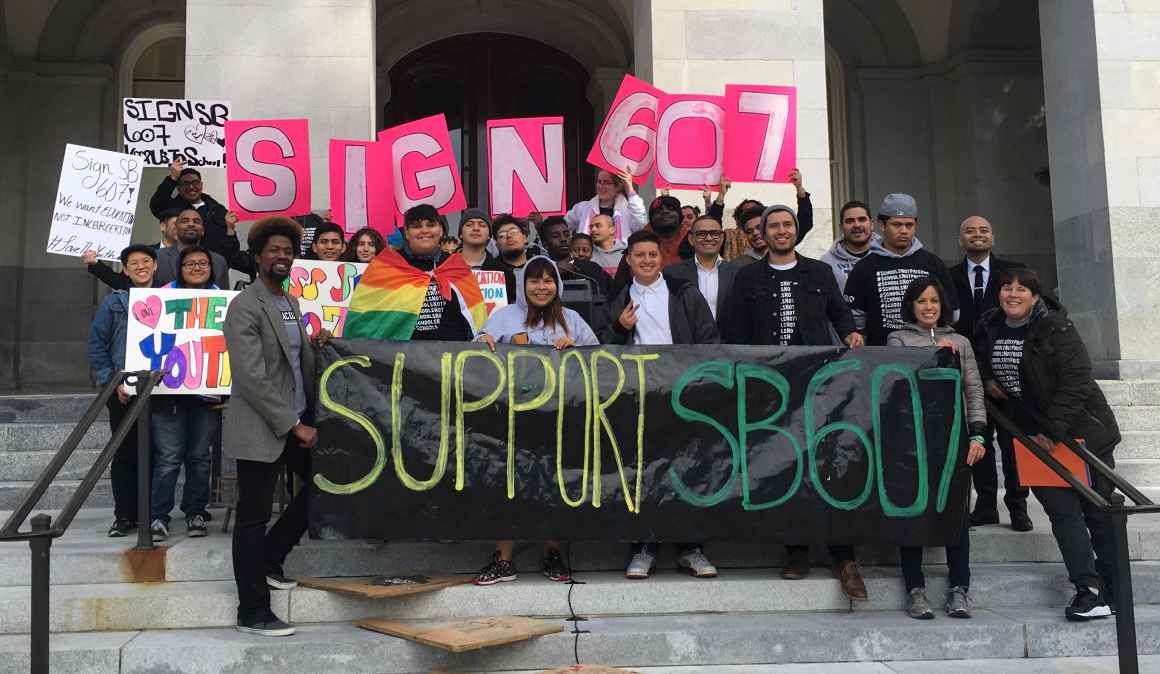 People rallying at the state Capitol in support of SB 607