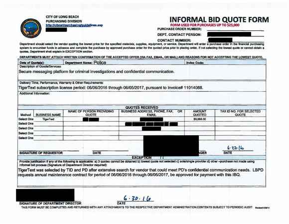 City of Long Beach public record with information blacked out