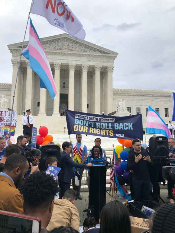 Bria Brown-King speaking at a rally in front of the U.S. Supreme Court