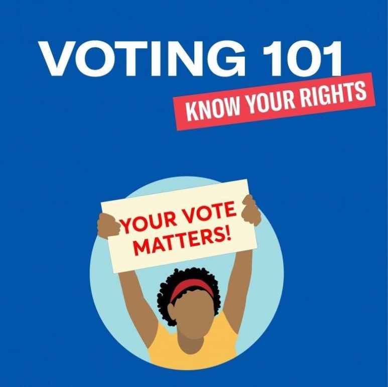 """Illustration of a person holding up a sign that says """"Your vote matters!"""""""