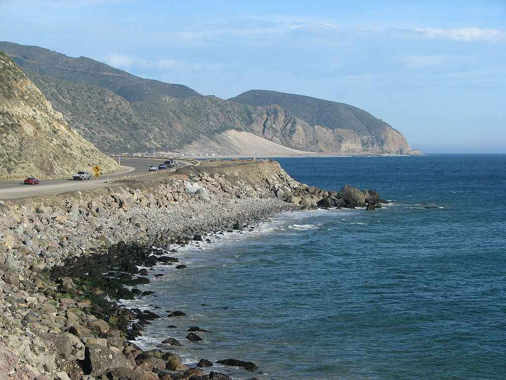 California State Route 1—Pacific Coast Highway — view towards Point Mugu State Park near Point Mugu, at the Santa Monica Mountains coast.