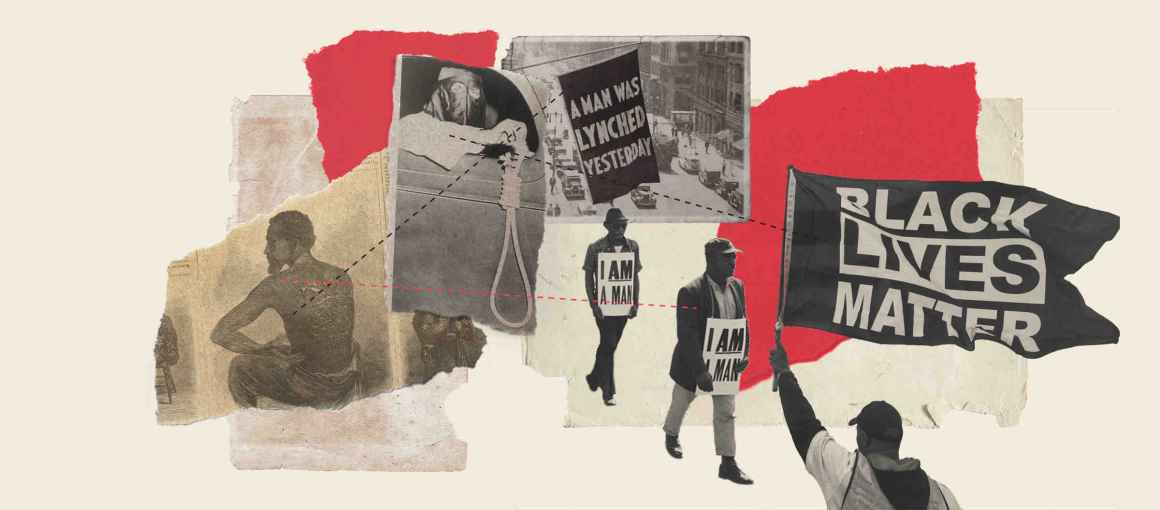 """Illustration of a Black man who is a slave, a man in KKK dress holding a rope for lynching, a banner that reads: """"A man was lynched yesterday"""", a Black man with a sign that reads: """"I am a man,"""" and a man holding a flag that reads: """"Black Lives Matter"""""""