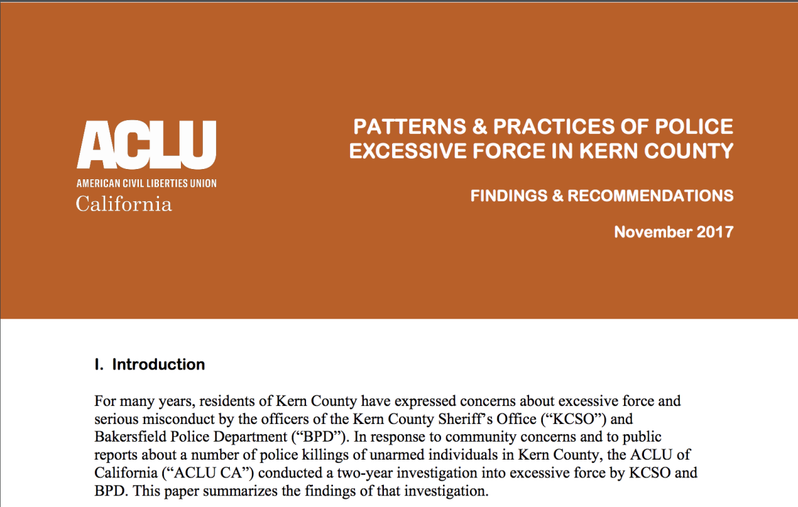 Patterns & Practices of Police Excessive Force in Kern County