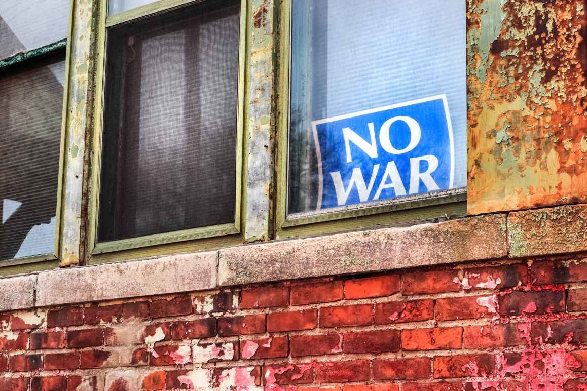 No War sign in window