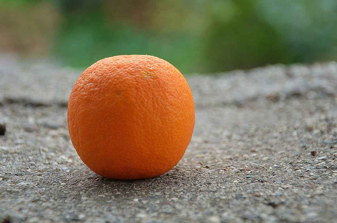 An orange on the ground