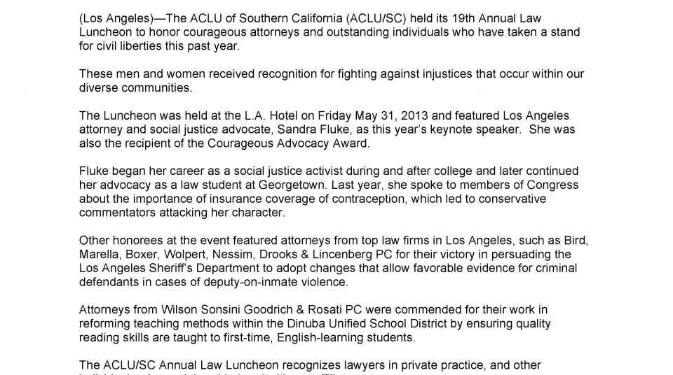 Sandra Fluke and Others Honored at the ACLU/SC 19th Annual Law