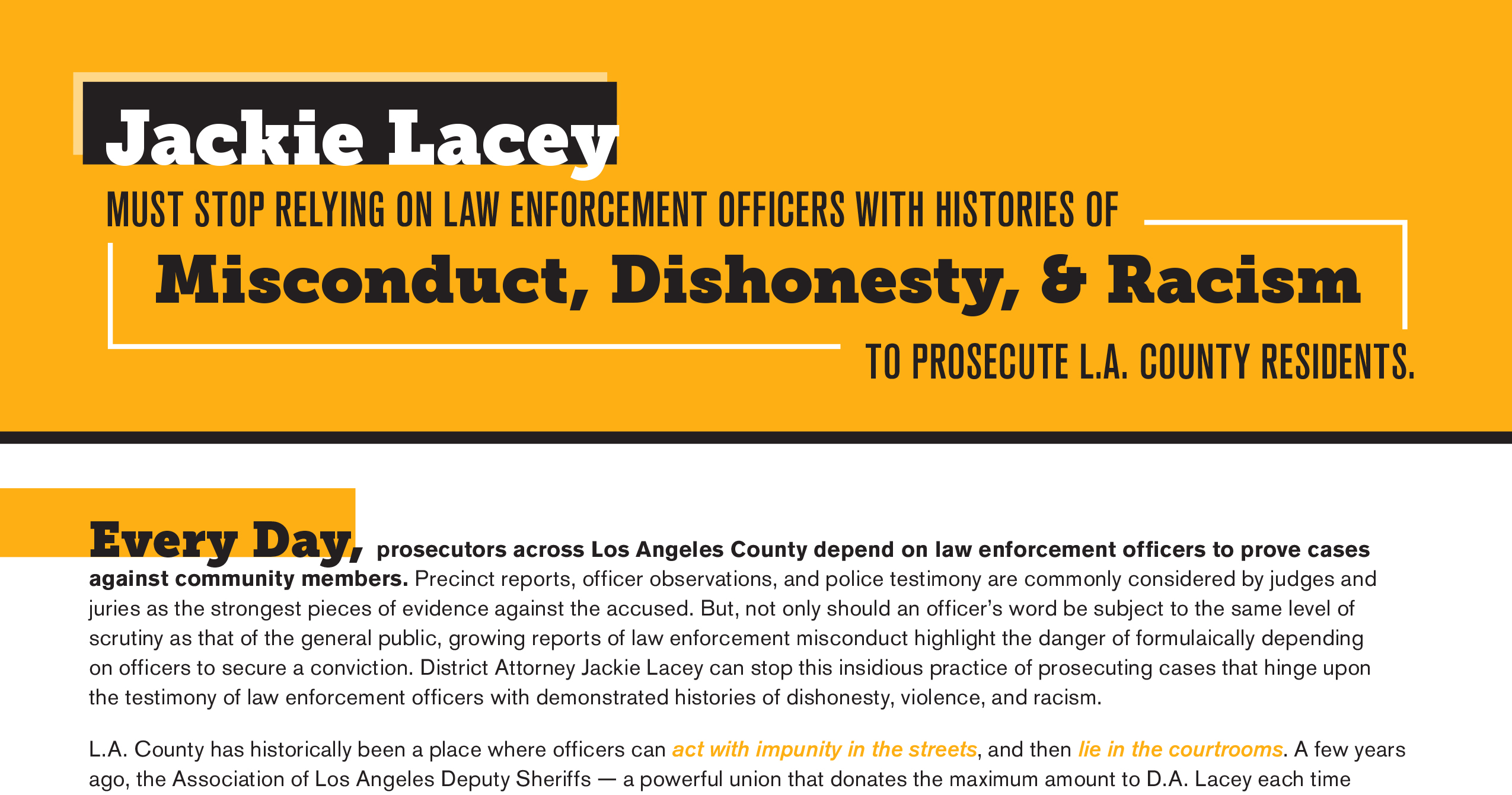 Open Letter: Jackie Lacey Must Stop Relying on Law Enforcement Officers with Histories of Misconduct, Dishonesty, & Racism to Prosecute L.A. County Residents