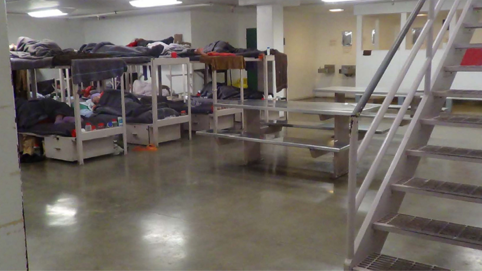 Yuba County Jail C Pod, a row of bunk beds spaced only 2 ft apart. Photo taken in 2015.